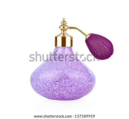 Purple vintage perfume bottle with atomizer  isolated on white background.