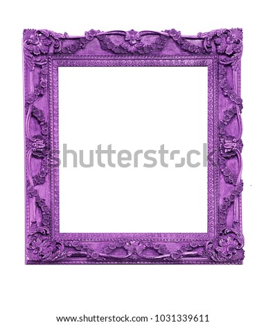 Purple vintage picture frame isolated