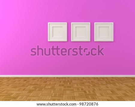 purple wall with three white frames
