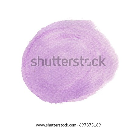 Purple watercolor circle isolated on white background, Hand paint texture #697375189