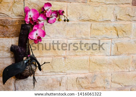 Purple-white orchid on brown surface, area for text, flat lay, top view