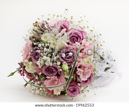 Purple & White Roses wedding flower bouquet