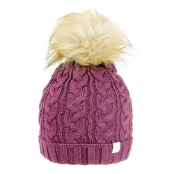Purple Wool Cable Knit Ski Hat with Faux Fur Pompom Isolated on White. Bobble Hat Topped with Pom Pom or Loose Tassels. Knit Cap Folded Brim. Knitted Warm Hat. Tuque or Toque Outdoors Headgear
