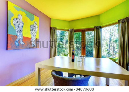 Purple Yellow And Green Furnished And Colored Living Room