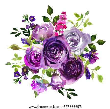 Purple yellow watercolor floral arrangement semi wreath flowers leaves isolated on white background.
