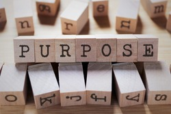 Purpose Word In Wooden Cube