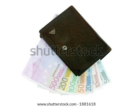 Purse and euro banknotes from five up to five hundred isolated on white