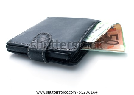 Purse and euro on a white background