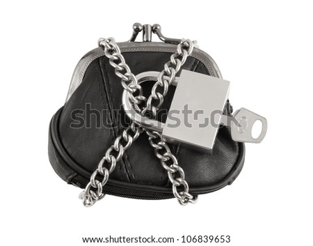 Purse, chain and padlock with key isolated on white background