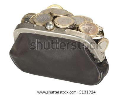 Purse Full of Coins - isolated on white