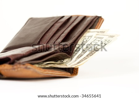 purse with dollar bills