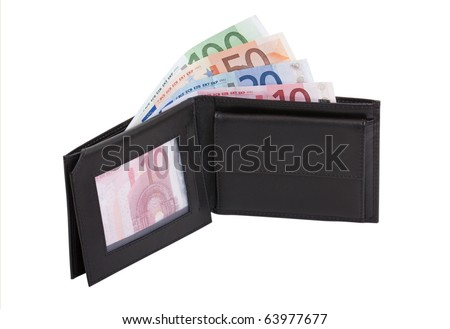Purse with notes in front of white background; clipping path