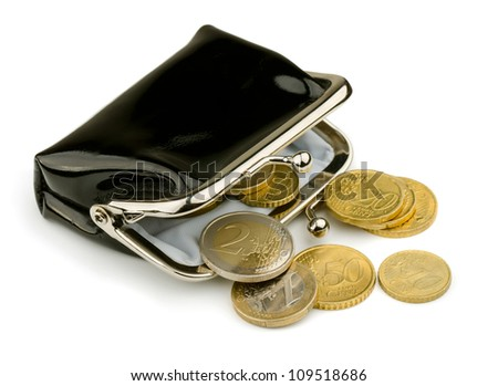 Purse with some euros coins isolated on white