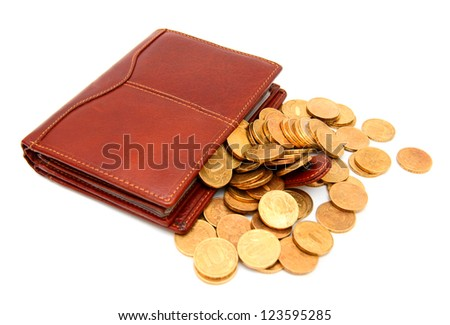 Purses and gold coins. On a white background.