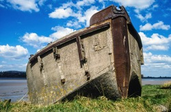 Purton hulk FCB75, a ferro-cement concrete and steel barge made by Wates, beached in 1965 to reinforce the banks of the River Severn, Gloucestershire, England, UK