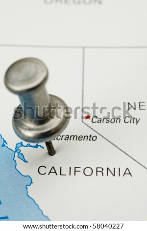 Push Pin on California. Map is copyright free off a government website. - stock photo