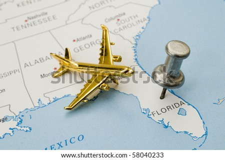 Push Pin on Florida. Map is copyright free off a government website.