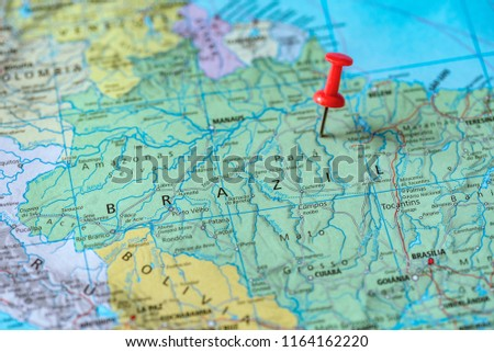 Push pin on the territory of Brazil on the world map #1164162220