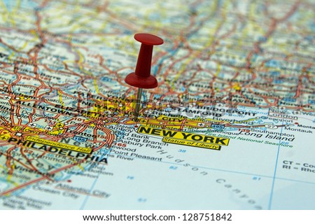 free photos map with pin point of new york city in usa avopix com