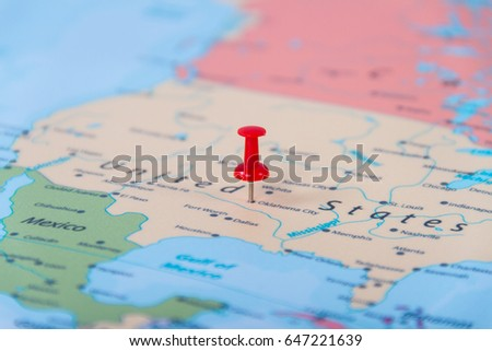 Push pins on the USA map #647221639