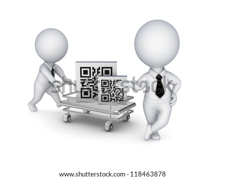 Pushcart with QR code.Isolated on white background.3d rendered.