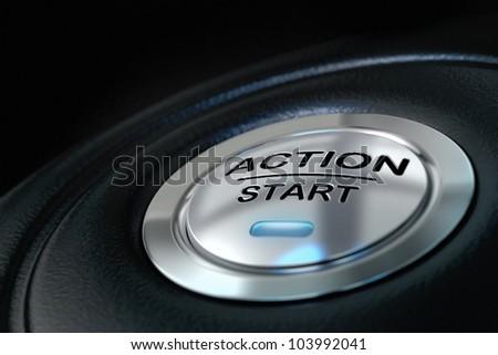pushed action start button over black background, blue light, motivation concept