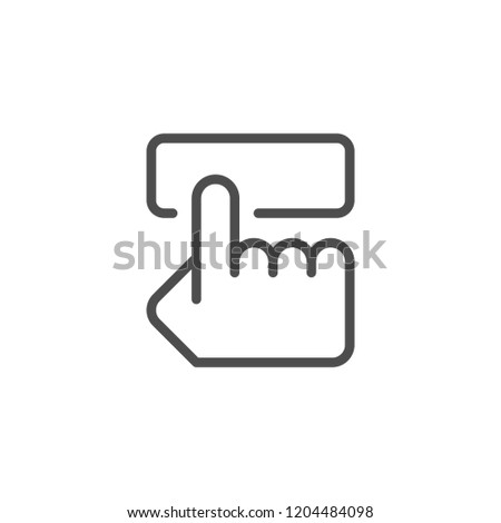 Pushing button line icon isolated on white