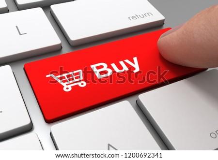 pushing buy button key concept 3d illustration