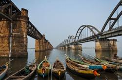 Pushkar ghat, Rajahmundry, Godavari river - morning of Ugadi