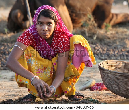 PUSHKAR, INDIA - NOVEMBER 18: Unidentified girl collects dung at Pushkar fair on November 18, 2010 in Pushkar, Rajasthan, India. Pilgrims and camel traders flock to the holy town for the annual fair.