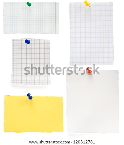 pushpin and  checked note paper isolated on white background