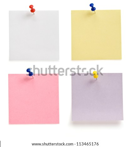 pushpin and note paper isolated on white background