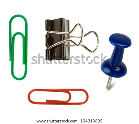 pushpin and paper clip isolated on white background