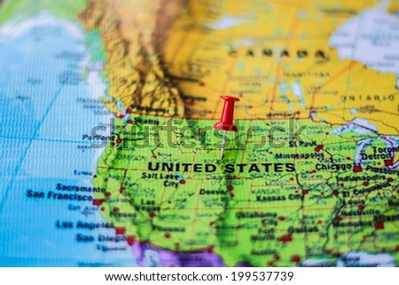 pushpin marking the location, United States