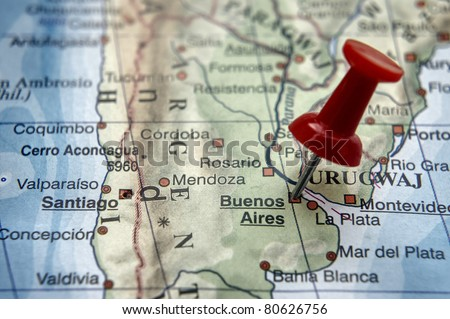 Pushpin on the map - Buenos Aires