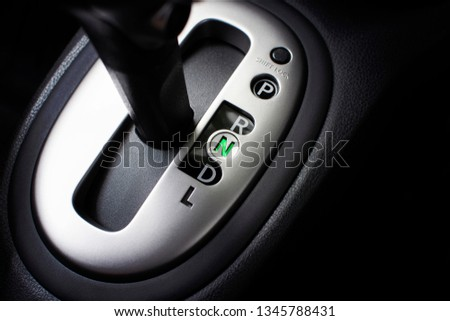Put a gear stick into N position, (Neutral) Symbol in auto transmission car. Photo stock ©