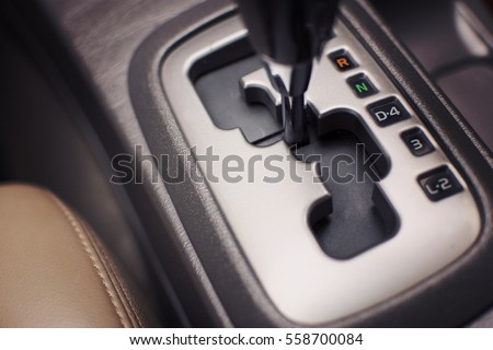 Put a gear stick into N position, (Neutral) Symbol in auto transmission car. selective focus. Photo stock ©