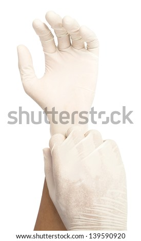 put glove on isolate white background