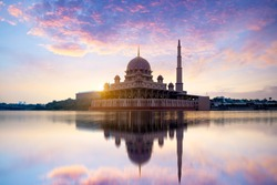 Putra mosque during sunrise with reflection, Malaysia