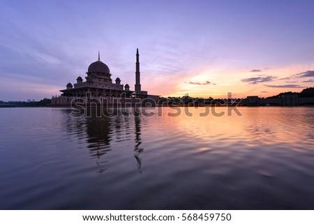 Putra Mosque, Putrajaya during beautiful sunrise. #568459750