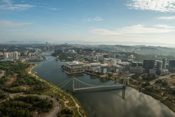 Putrajaya, Malaysia - Jan 14, 2017: Aerial view of Putrajaya, Malaysia and surrounding area of Putrajaya. Photo was taken in the morning from a powered paragliding (ppg) ride