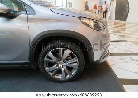 PUTRAJAYA, MALAYSIA - JULY 30, 2017: The Peugeot 2008 SUV at the roadshow in Putrajaya, Malaysia #688689253