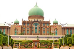 PUTRAJAYA, MALAYSIA - JUNE, 10: Malaysian Prime Minister's office facade on June 10, 2013 in Putrajaya, Malaysia. Prime Minister's office is situated in planned city Putrajaya.