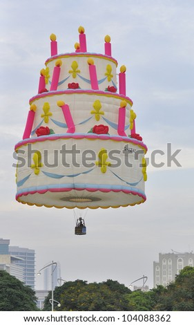 PUTRAJAYA, MALAYSIA-MAR 15:View of colorful balloon on sky at the 4th Putrajaya International Hot Air Balloon Fiesta on Mar 15, 2012 Putrajaya. The event held in Precinct 2, Putrajaya, Malaysia.