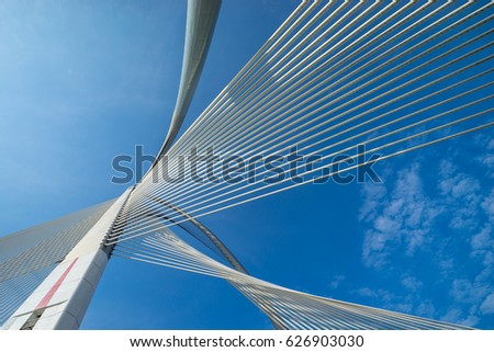 PUTRAJAYA, MALAYSIA - 16TH APRIL 2017; Seri Wawasan Bridge is a cable-stayed bridge. The main span, 165m long, is supported by 30 pairs of forward stay cables. #626903030