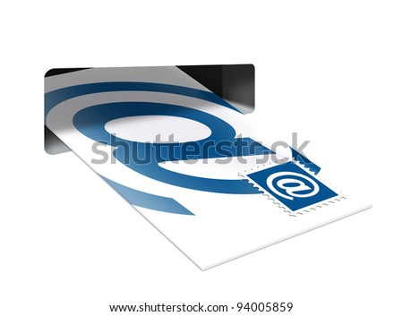 Putting a E-Mail  into a mailbox isolated on white