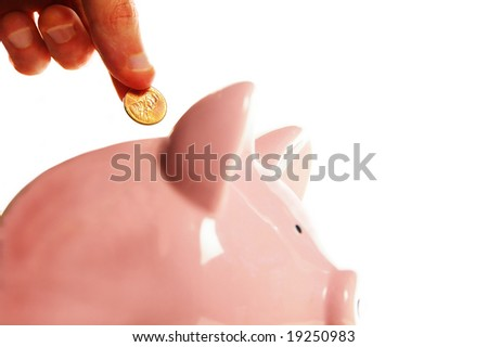 putting a penny in the piggy bank, on white