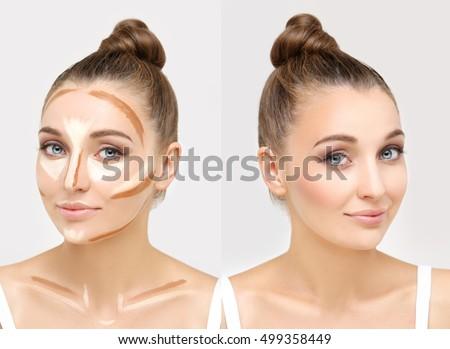 Putting makeup .Contouring.Make up woman face. Contour and highlight makeup