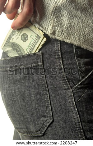 putting money into the pocket