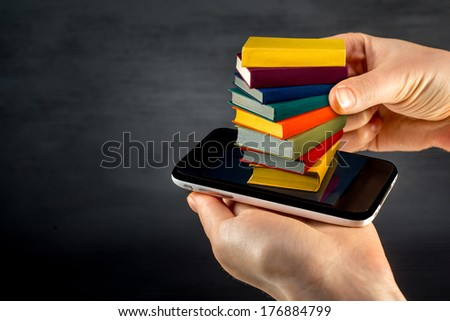 putting or download colorful books to the smart phone